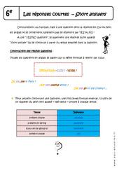 Réponses courtes - Cours - Short answers : 6eme Primaire