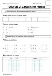 Addition avec retenue - Examen Evaluation : 2eme Primaire
