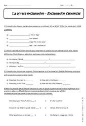 Exclamation Sentences - Révisions - Anglais : 1ere Secondaire