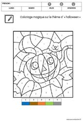 Coloriage magique d'Halloween : 2eme Maternelle - Cycle Fondamental