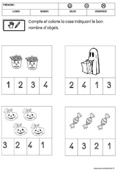 Mathématiques - Halloween : 1ere Maternelle - Cycle Fondamental