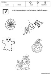 Coloriage thème halloween : 1ere Maternelle - Cycle Fondamental