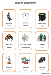 Imagier d'Halloween en 2 polices : 1ere Maternelle - Cycle Fondamental