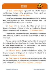 Halloween - Défi maths - Enigmes mathématiques : 4eme Primaire