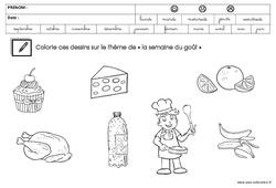 Coloriage sur le thème « la semaine du goût » : 3eme Maternelle - Cycle Fondamental