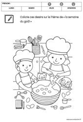 Coloriage sur le thème « la semaine du goût » : 1ere Maternelle - Cycle Fondamental
