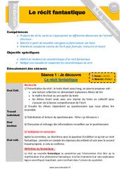 Le récit fantastique - Rédaction - Production d'écrit - Fiche de préparation : 4eme, 5eme Primaire