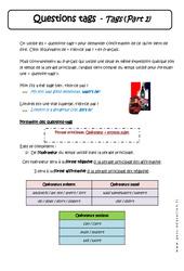 Questions tags - Cours - Anglais : 1ere Secondaire