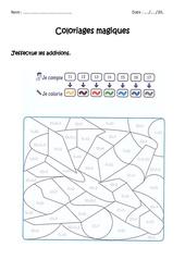 Additionner 10 + unité - Coloriage magique à imprimer : 1ere Primaire