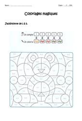 Additionner de 1 à 5 - Coloriage magique à imprimer : 1ere Primaire