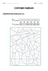 Additionner de 1 à 10 - Coloriage magique à imprimer : 1ere Primaire
