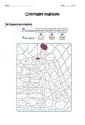 Comparer des nombres à 5 - Coloriage magique à imprimer : 1ere Primaire