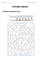 Compléter des additions à trous jusqu'à 9 - Coloriage magique à imprimer : 1ere Primaire