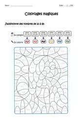 Additionner des nombres de 0 à 69 - Coloriage magique à imprimer : 1ere, 2eme Primaire