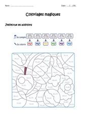 Additionner des nombres de 0 à 100 - Coloriage magique à imprimer : 1ere, 2eme Primaire