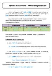 Modaux et substituts - Modals and Substitutes - Cours : 1ere Secondaire