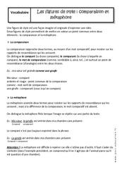 Métaphore et comparaison - Cours - Figures de style : 1ere Secondaire