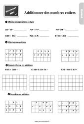 Exercices, révisions sur additionner les nombres entiers au  avec les corrections : 4eme Primaire