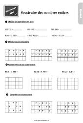 Exercices, révisions sur comment soustraire les nombres entiers au  avec les corrections : 4eme Primaire