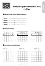 Exercices, révisions sur la multiplication par un nombre à deux chiffres au  avec les corrections : 4eme Primaire