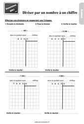 Exercices, révisions sur la division par un nombre à un chiffre au  avec les corrections : 4eme Primaire