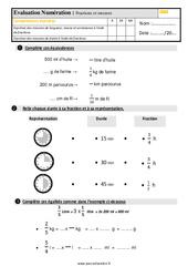 Évaluation, bilan sur les fractions et les mesures au  avec la correction : 4eme Primaire