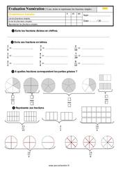 Évaluation, bilan sur lire, écrire et représenter des fractions simples au  avec la correction : 4eme Primaire