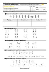 Évaluation, bilan sur comparer et ranger des fractions simples au  avec la correction : 4eme Primaire