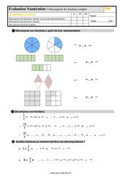 Évaluation, bilan sur décomposer des fractions simples au  avec la correction : 4eme Primaire