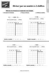 Exercices, révisions sur diviser par un nombre à deux chiffres au  avec les corrections : 4eme Primaire