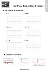 Exercices, révisions sur soustraction des nombres décimaux au  avec les corrections : 4eme Primaire