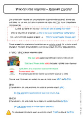 Propositions relatives - Pronoms relatifs - Cours - Who, Which, That, Where : 1ere Secondaire