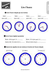 Exercices, révisions sur lire l'heure au  avec les corrections : 5eme Primaire