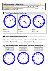 Évaluation, bilan sur lire l'heure au  avec la correction : 5eme Primaire