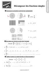 Exercices, révisions sur décomposer des fractions simples au  avec les corrections : 5eme Primaire