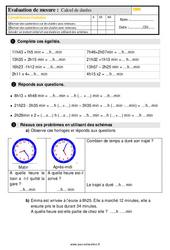 Évaluation, bilan sur le calcul de durées au  avec la correction : 5eme Primaire