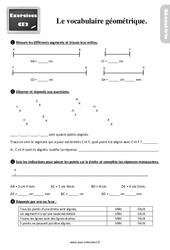 Exercices, révisions sur le vocabulaire géométrique au  avec les corrections : 3eme Primaire