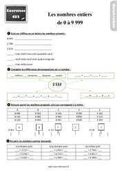 Exercices, révisions sur les nombres entiers de 0 à 9 999 au  avec les corrections : 3eme Primaire