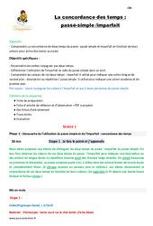 La concordance des temps - Fiches passé - simple et imparfait - Fiche de préparation : 4eme Primaire