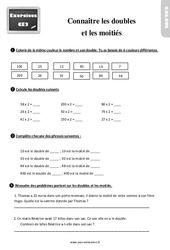 Exercices, révisions sur connaître les doubles et les moitiés au  avec les corrigés : 3eme Primaire