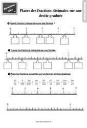 Exercices, révisions sur placer des fractions décimales sur une droite graduée -  avec les corrigés : 4eme Primaire