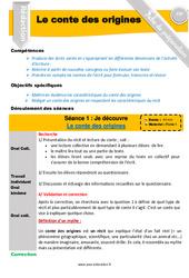 Le conte des origines - Conte - Production d'écrit - Fiche de préparation : 4eme, 5eme Primaire