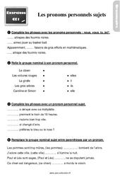 Exercices, révisions sur les pronoms personnels sujets -  avec les corrections : 2eme Primaire