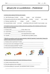 Would Like - Exercices corrigés  sur la préférence en anglais : 1ere Secondaire