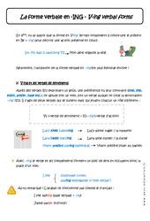 La forme verbale en - ING - Cours - Verbe +ing verbal forms : 1ere Secondaire