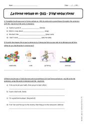 Forme verbale en - ING - Exercices sur le Verbe +ing : 1ere Secondaire