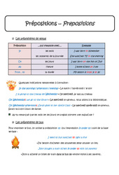 Prépositions - Cours - In, On, At, From…to - Anglais : 1ere Secondaire