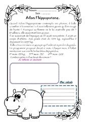 Adam l'hippopotame - 1 histoire 1 problème : 4eme Primaire