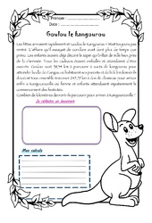 Goulou le kangourou - 1 histoire 1 problème : 4eme Primaire