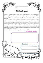 Obéliax le puma - 1 histoire 1 problème : 4eme Primaire